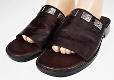 9 Minnetonka Mule Shoes Embossed Reptile Brown/Burgundy  Leather