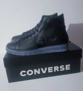 Converse x Black Ice Pro Leather High Top Black Clear Sneakers 169501C Size 10.5