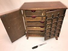Vintage Wood WOODEN JEWELRY BOX CHEST ARMOIRE RED Velvet Lined 7 Drawers 2 Doors