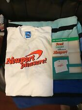 Vtg 80s NEWPORT Pleasure NEON OraNge L T-Shirt CIGARETTE Advertising Smoker Box