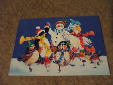 5 Christmas Cards snowman and birds dancing by Tree Free Greetings