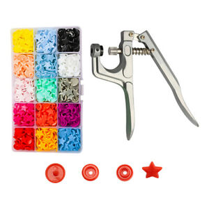 150x Kit Sewing Tools T5 Plastic Buttons + Snap Pliers 150Pcs for Clothing