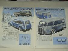 Glac Auto PEUGEOT 203 403 D3A D4A  prospectus brochure prospeckt truck LKW