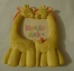 """Noah's Ark Two Giraffe Picture Frame - Yellow - 4""""H x 3 1/4""""W - NEW"""