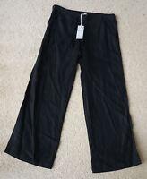 Ladies M&S Size 8 Long Pure Linen Wide Leg Trousers Bnwt Black