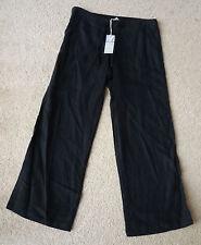 Ladies M&s Sizes 6 8 12 14 16 18 20 22 Pure Linen Wide Leg Trousers Black 8 L