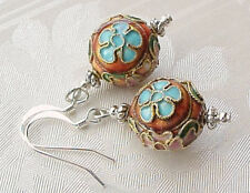 Cloisonne Earrings Rust Red Pink Chic Shabby Marie Antoinette Costume Cosplay