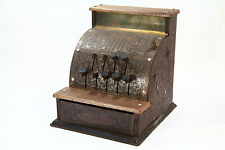 Vintage BENJAMIN FRANKLIN TOY CASH REGISTER KAMKAP NY USA Copper Litho Tin Works