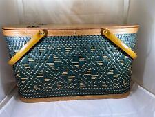 Vintage Hawkeye Burlington Picnic Basket Green Woven Metal Handles