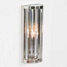 Art Deco Chrome Finish Fluted Column Glass Rods Wall Light 3 Sizes Available