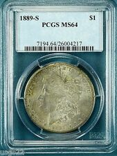 1889-S $1 Morgan Dollar PCGS MS-64 Nice Clean Coin Light Toning