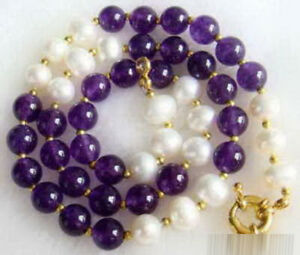 Natural 7-8mm White Pearl & 8mm Purple Amethyst Round Beads Necklace 18'' PN1497