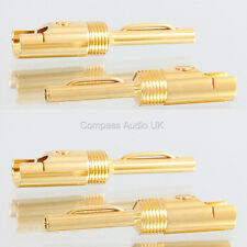 4 GOLD 4mm BANANA PLUGS 6mm Large Cable Entry Speaker Cable Bi-wire & Heatshrink