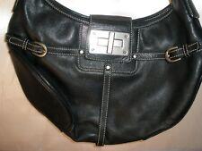 LAUREN by Ralph Lauren  BLACK Leather Hobo Shoulder Handbag Purse Top Stitching