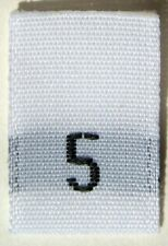 100 PCS WHITE WOVEN CLOTHING LABEL SIZE TAGS - SIZE 5 - FIVE