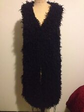 H&M Black Fake Faux Fuzzy Fur Vest - Long Sz 6 SOLD OUT FALL 2013