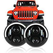 "Pair 7"" INCH LED Headlights Half Halo Angle Eye For Jeep Wrangler CJ JK LJ 97-18"