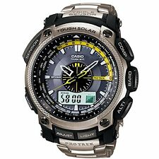 Casio Pro Trek Triple Sensor Gents Stainless Steel Bracelet Watch PRW-5000T-7