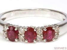 Diamond Natural Ruby White Gold Fine Rings