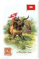 Old Thailand Siam Postcard Flag Elephant La Posta Nel Siam Italy Used