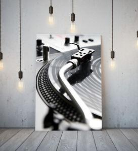 TURNTABLE 1-DEEP FRAMED CANVAS WALL SPLASH ART PICTURE PAPER PRINT- GREY BLACK