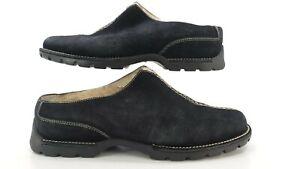 Cole Haan Womens Shoe Size 8B Suede Mule Clogs Faux Fur-Lined Black