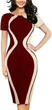 OKLICH Formal Dresses for Women Half Sleeve Sheath Dress, Red, XXL