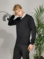 BLACK PREMIER MENS ACRYLIC COTTON KNITTED V NECK SWEATER OFFICE GOLF JUMPER