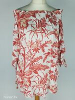 H&M Beige Orange Bardot Floral Print  Off Shoulder Smock Blouse Top Size S 10 38