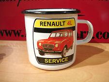 PLAQUE EMAILLEE TASSE cafe mug RENAULT 4L R4 SERVICE  enameled COFFEE CUP EMAIL