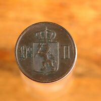 Raw 1874 Norway 2 Ore Uncertified Collectable Norwegian Numismatic Coin