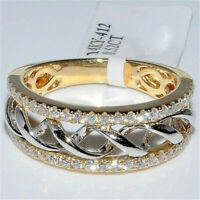 Exquisite Womens 925 Silver Yellow Gold CZ Two Tone Twisted Ring Bridal Jewelry
