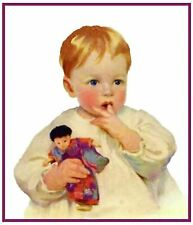 A Young Baby with Dolly Jessie Willcox Smith Counted Cross Stitch Pattern