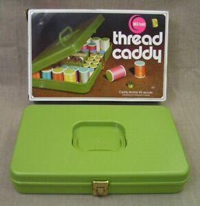 Vtg. Wil-Hold TC-68 Green 48 Spool Thread Caddy Box w/35 Spools of Sewing Thread