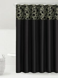Black & Silver Faux Silk Fabric Shower Curtain w/ Embossed Floral & Vine Design