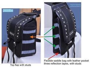 Saddle bag Borraq Saddle bag Cordura BLACK FLEXIBLE Horse saddle bag with studs
