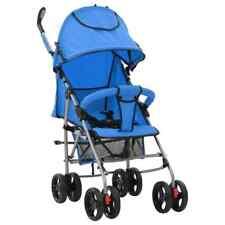 vidaXL Kinderwagen/Buggy 2-in-1 Inklapbaar Staal Blauw Loopwagen Wandelwagen