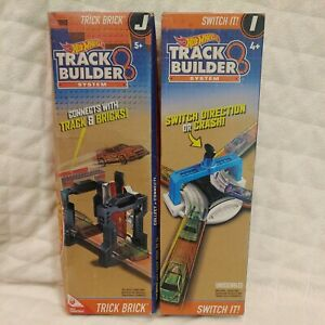 2 New Sealed Hot Wheels Track Builder System SWITCH IT! and TRICK BRICK