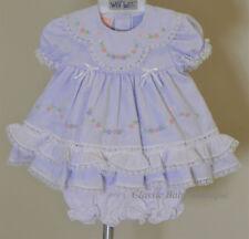 NWT Will'beth Lavender Purple Heirloom Lace 2pc Dress Newborn Bloomers Girls