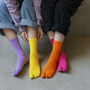 1Pair Unisex Long Tube Tabi SOCKS With Separate Toes Trotters Split Two Toe Sock