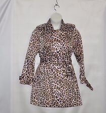 Joan Rivers Animal Print Belted Trench coat Size S Pink