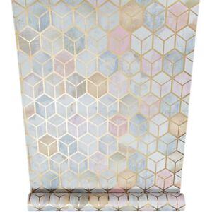 Holden Metallic Gold Geometric Cube Blush Blue Feature Wall Wallpaper