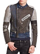 Golden Studded MultiColor Leather Jacket Men Style New Handmade Men's XS to 6XL