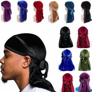 Unisex Luxury Soft Velvet Durag Cap Stretch Headwraps mit langen, breiten Riemen