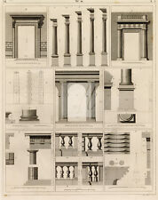 ANTIQUE 1851 Print - Variety of Ancient Architecture Orders - J. Heck #D466