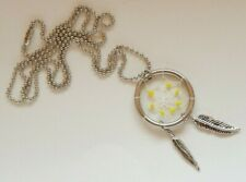 Dreamcatcher Necklace Pendant - Yellow Stones and Metal Feathers - Valentines