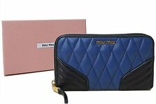 NWT Miu Miu by Prada Quilted Leather Biker Portofoglio Zip Around Wallet