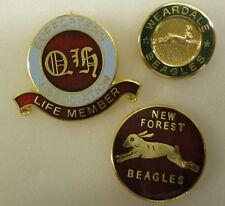 Foxhound caza Esmalte insignias X 3, QH partidarios, Weardale Beagles, N F Beagles