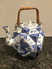 JAPANESE PORCELAIN SQUARE TEAPOT BLUE & WHITE DRAGON WICKER WOVEN HANDLE