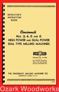 Cincinnati 3,4,5,6 High Power & Dual Power Milling Machine Operators Manual 1343